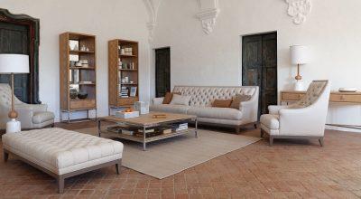 סלון יוקרתי: ספת בד ועור epoq, שתי כורסאות, הדום רחב, שטיח יוקרתי ושולחן קפה