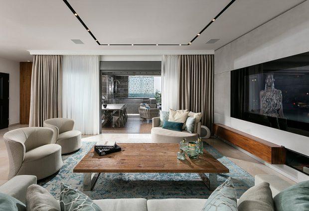 סלון יוקרה: עם ספת בד סט כורסאות בד ושולחן קפה מעץ מלא